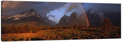 Sunrise & rainbow Grand Teton National Park WY USA Canvas Art Print