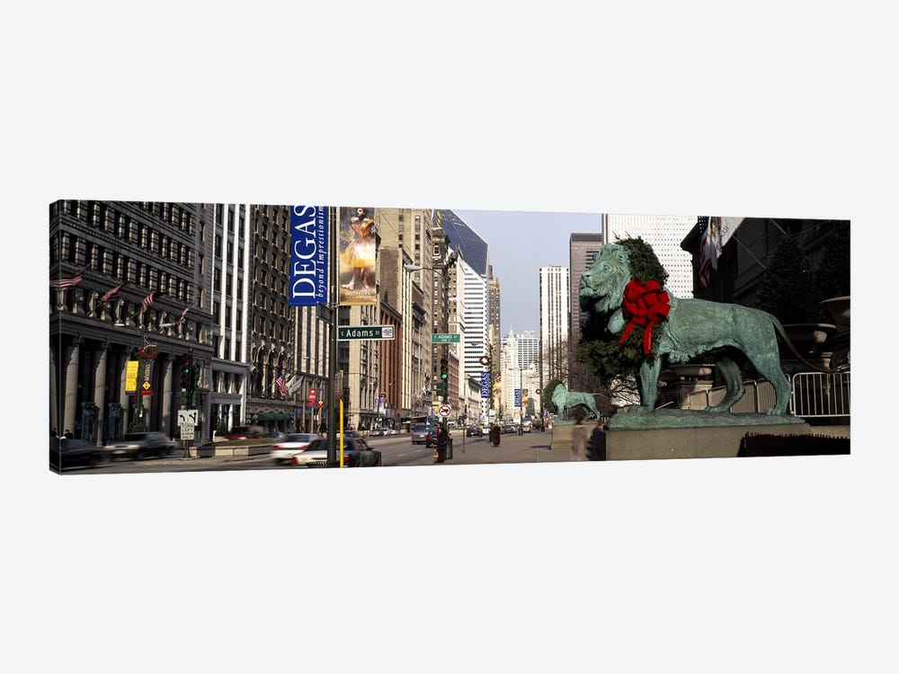 Bronze lion statue in front of a museumArt Institute of Chicago, Chicago, Cook County, Illinois, USA by Panoramic Images 1-piece Canvas Print