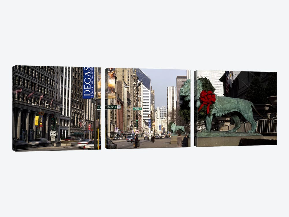 Bronze lion statue in front of a museumArt Institute of Chicago, Chicago, Cook County, Illinois, USA by Panoramic Images 3-piece Art Print