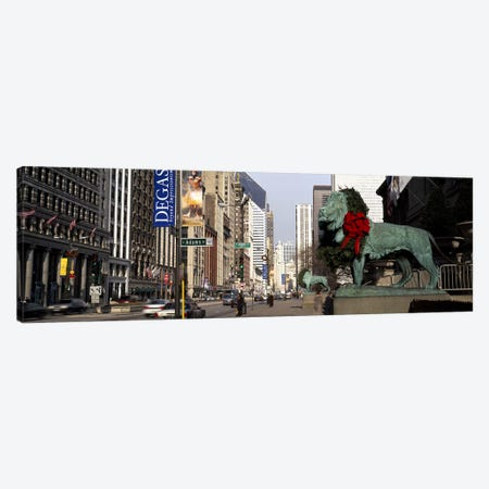 Bronze lion statue in front of a museumArt Institute of Chicago, Chicago, Cook County, Illinois, USA Canvas Print #PIM7927} by Panoramic Images Canvas Print