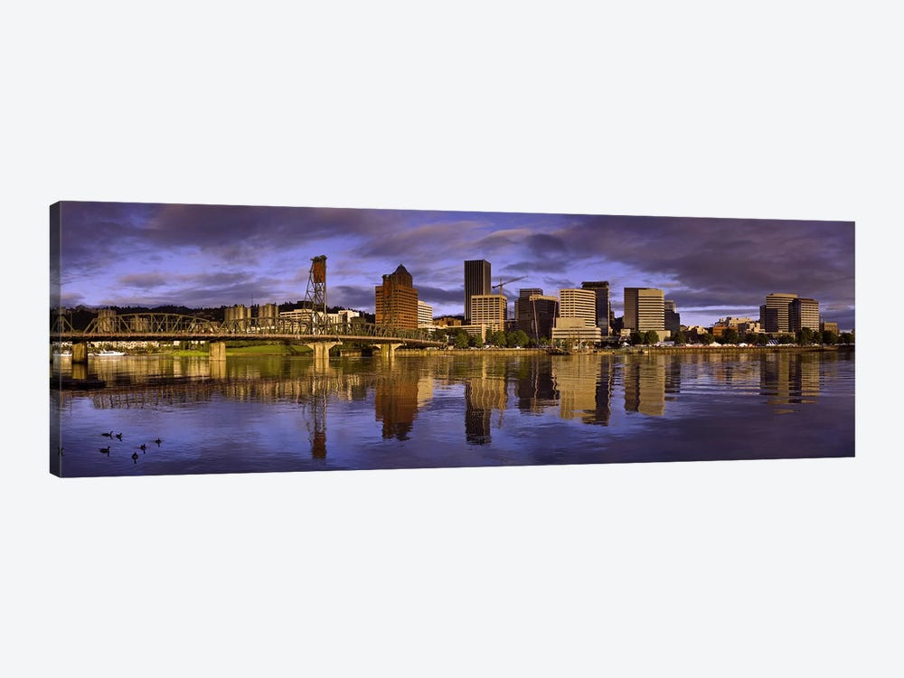 Buildings at the waterfront, Portland, Oregon, USA by Panoramic Images 1-piece Canvas Artwork