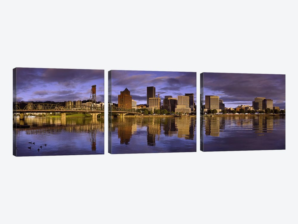 Buildings at the waterfront, Portland, Oregon, USA by Panoramic Images 3-piece Canvas Artwork