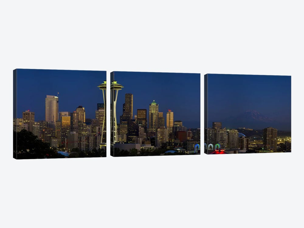 Skyscrapers in a citySpace Needle, Seattle, King County, Washington State, USA by Panoramic Images 3-piece Canvas Art Print