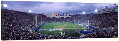 Spectators watching baseball match, Los Angeles Dodgers, Los Angeles Memorial Coliseum, Los Angeles, California, USA Canvas Art Print