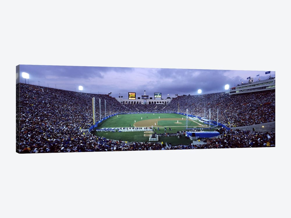 Spectators watching baseball match, Los Angeles Dodgers, Los Angeles Memorial Coliseum, Los Angeles, California, USA by Panoramic Images 1-piece Canvas Artwork