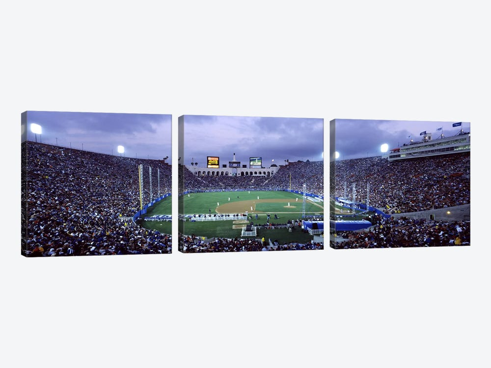 Spectators watching baseball match, Los Angeles Dodgers, Los Angeles Memorial Coliseum, Los Angeles, California, USA by Panoramic Images 3-piece Canvas Wall Art