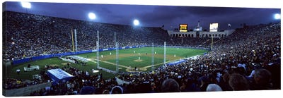 Spectators watching baseball match, Los Angeles Dodgers, Los Angeles Memorial Coliseum, Los Angeles, California, USA #2 Canvas Print #PIM7932
