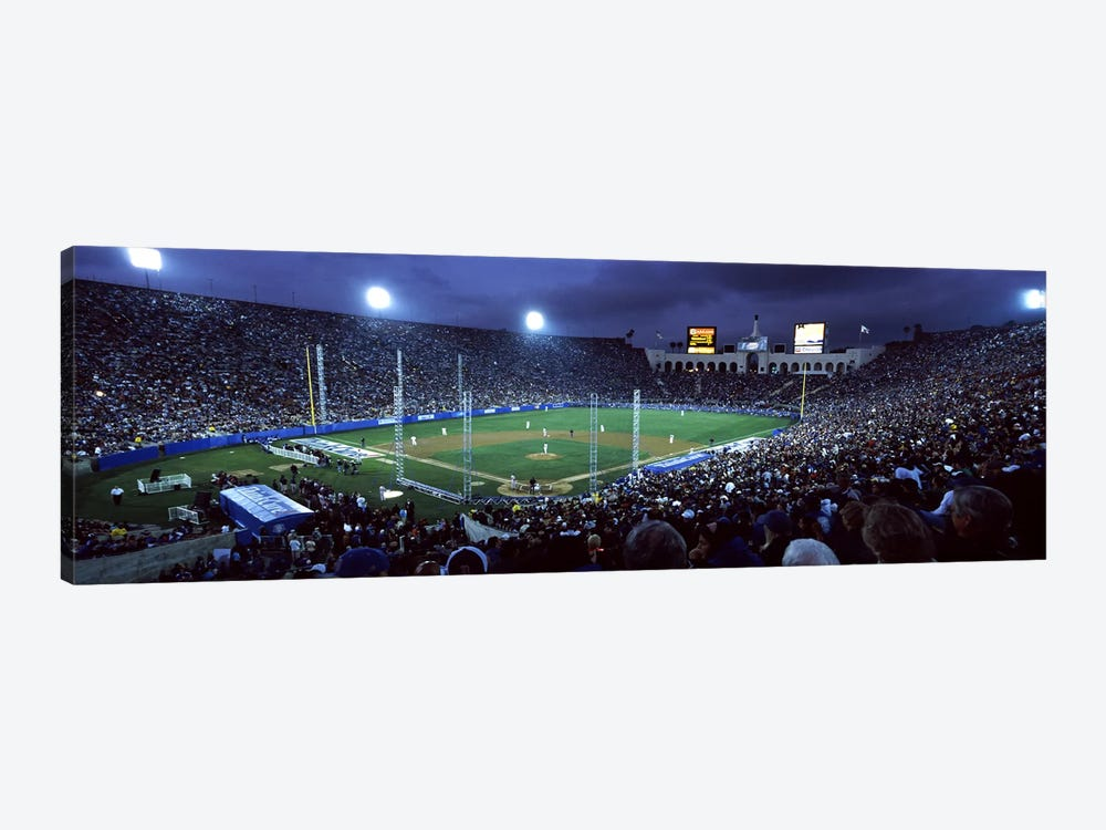 Spectators watching baseball match, Los Angeles Dodgers, Los Angeles Memorial Coliseum, Los Angeles, California, USA #2 by Panoramic Images 1-piece Art Print