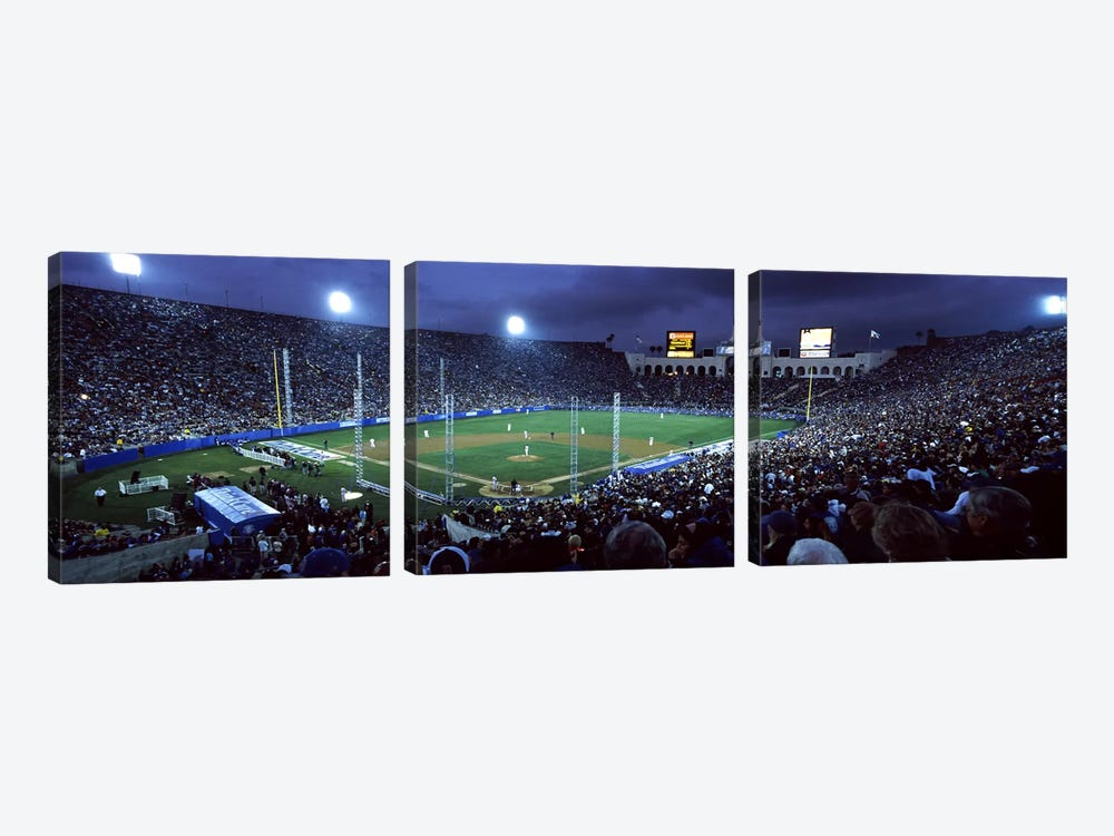 Spectators watching baseball match, Los Angeles Dodgers, Los Angeles Memorial Coliseum, Los Angeles, California, USA #2 by Panoramic Images 3-piece Canvas Print