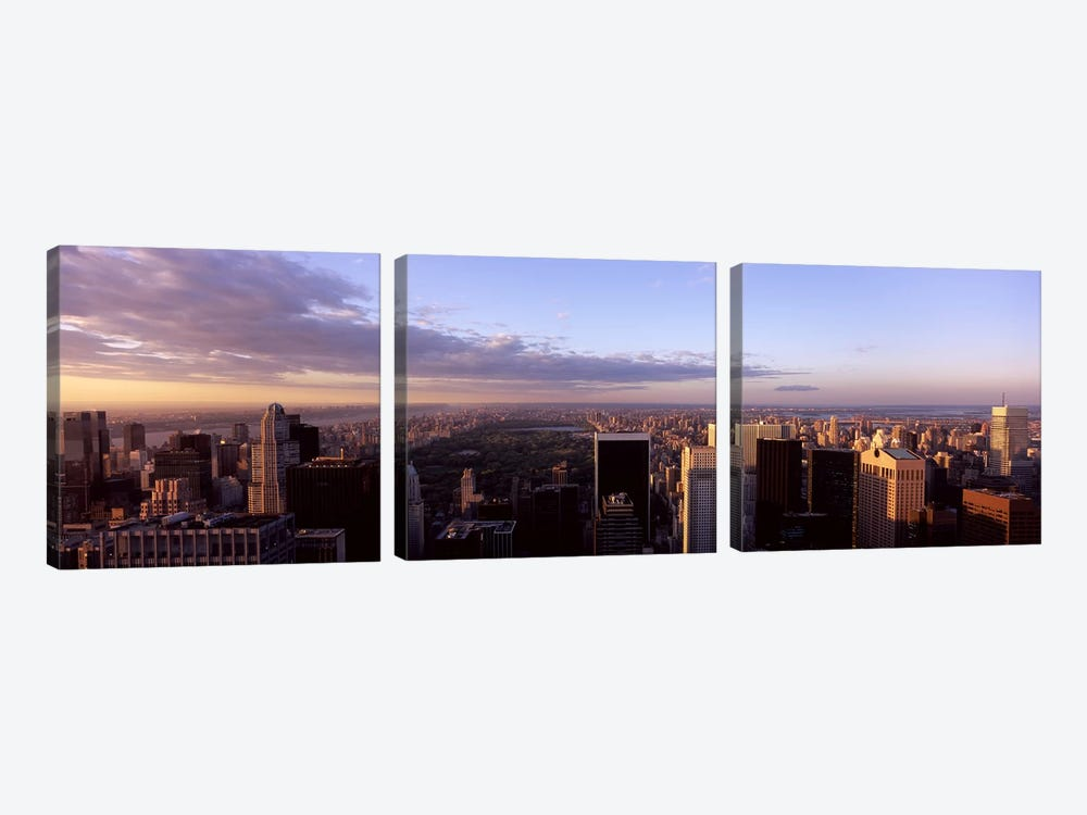 Cityscape at sunset, Central Park, East Side of Manhattan, New York City, New York State, USA 2009 by Panoramic Images 3-piece Canvas Wall Art
