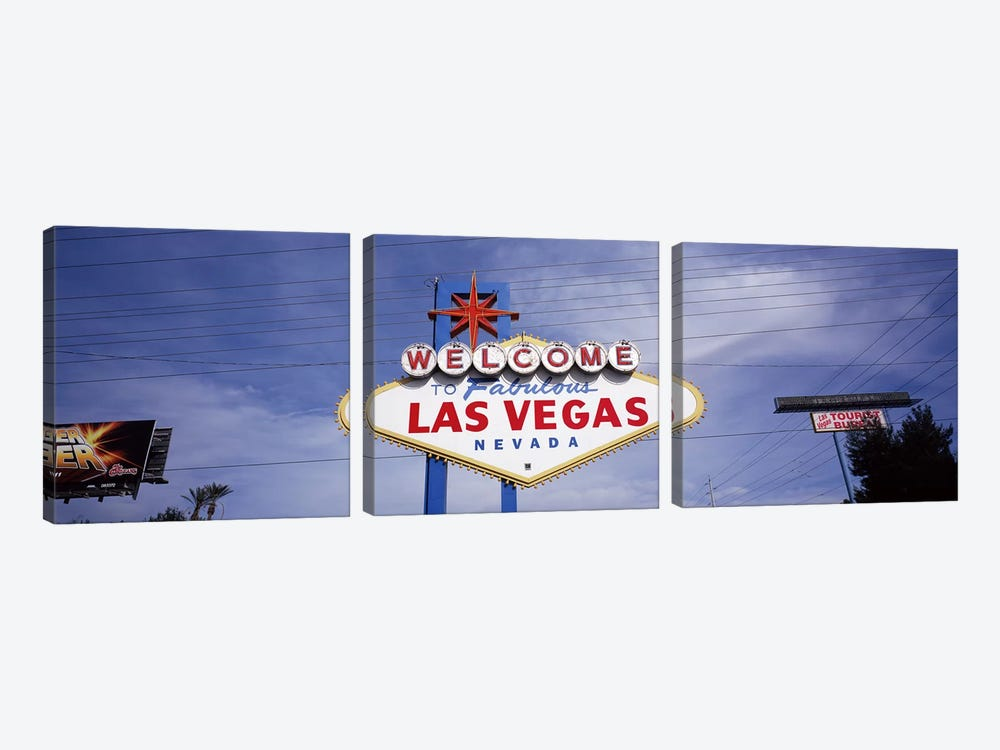 Low angle view of Welcome sign, Las Vegas, Nevada, USA by Panoramic Images 3-piece Canvas Art Print