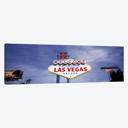 Low angle view of Welcome sign, Las Vegas, Nevada, USA Canvas Print #PIM7934} by Panoramic Images Canvas Artwork