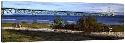 Mackinac Bridge, Straits Of Mackinac, Michigan, USA Canvas Print #PIM7935