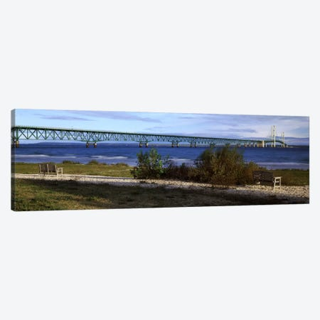 Mackinac Bridge, Straits Of Mackinac, Michigan, USA Canvas Print #PIM7935} by Panoramic Images Canvas Artwork