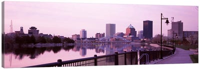 Buildings at the waterfront, Genesee, Rochester, Monroe County, New York State, USA Canvas Art Print