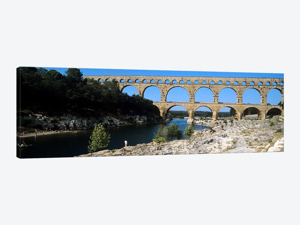 Aqueduct across a river, Pont Du Gard, Nimes, Gard, Languedoc-Rousillon, France by Panoramic Images 1-piece Canvas Wall Art