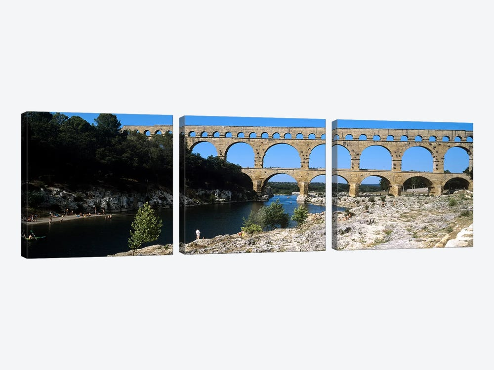 Aqueduct across a river, Pont Du Gard, Nimes, Gard, Languedoc-Rousillon, France by Panoramic Images 3-piece Canvas Wall Art