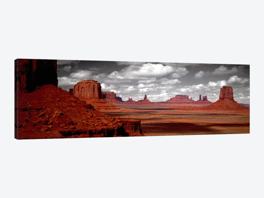Cloudy Sky In B&W, Monument Valley, Navajo Nation, Arizona, USA, by Panoramic Images 1-piece Canvas Art Print