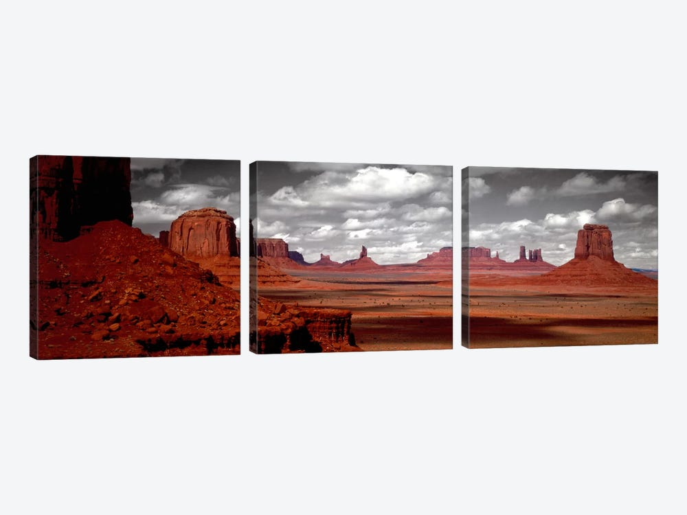 Cloudy Sky In B&W, Monument Valley, Navajo Nation, Arizona, USA, by Panoramic Images 3-piece Art Print