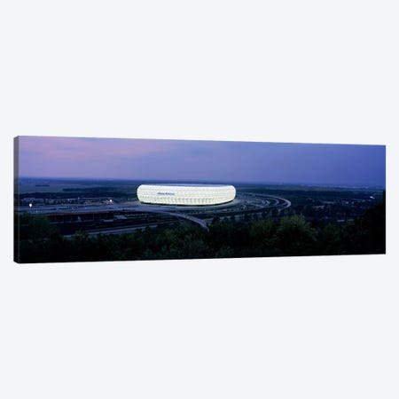 Soccer stadium lit up at nigh, Allianz Arena, Munich, Bavaria, Germany Canvas Print #PIM7942} by Panoramic Images Canvas Wall Art