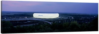 Soccer stadium lit up at nigh, Allianz Arena, Munich, Bavaria, Germany Canvas Art Print
