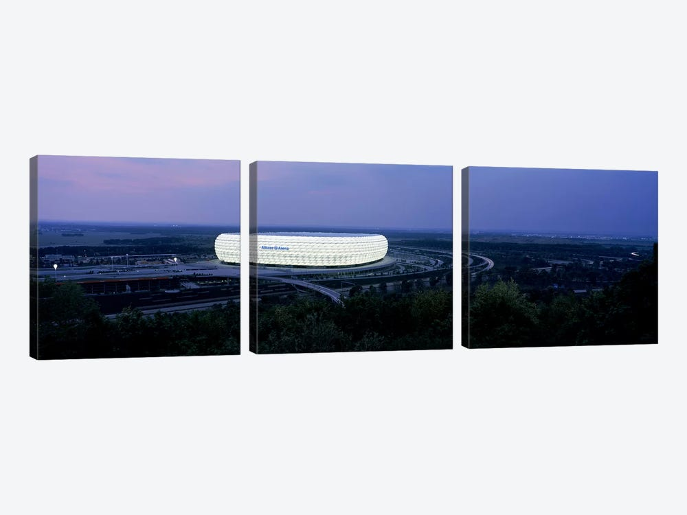 Soccer stadium lit up at nigh, Allianz Arena, Munich, Bavaria, Germany by Panoramic Images 3-piece Canvas Wall Art