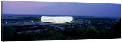 Soccer stadium lit up at nigh, Allianz Arena, Munich, Bavaria, Germany Canvas Art Print
