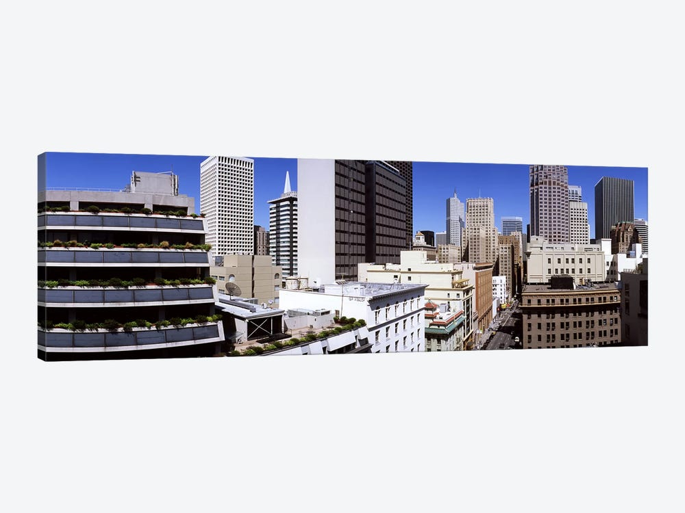 Skyscrapers in a city viewed from Union Square towards Financial District, San Francisco, California, USA by Panoramic Images 1-piece Canvas Wall Art