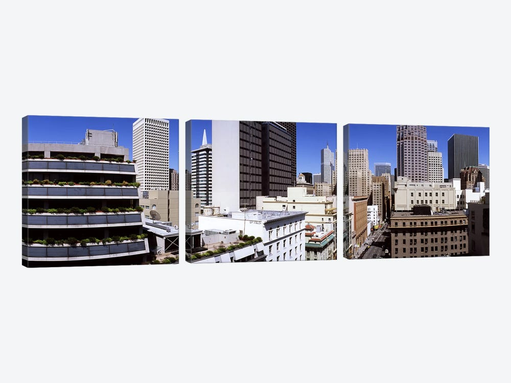 Skyscrapers in a city viewed from Union Square towards Financial District, San Francisco, California, USA by Panoramic Images 3-piece Canvas Wall Art