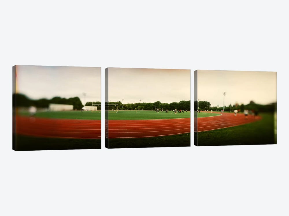 Running track in a park, McCarran Park, Greenpoint, Brooklyn, New York City, New York State, USA by Panoramic Images 3-piece Canvas Print