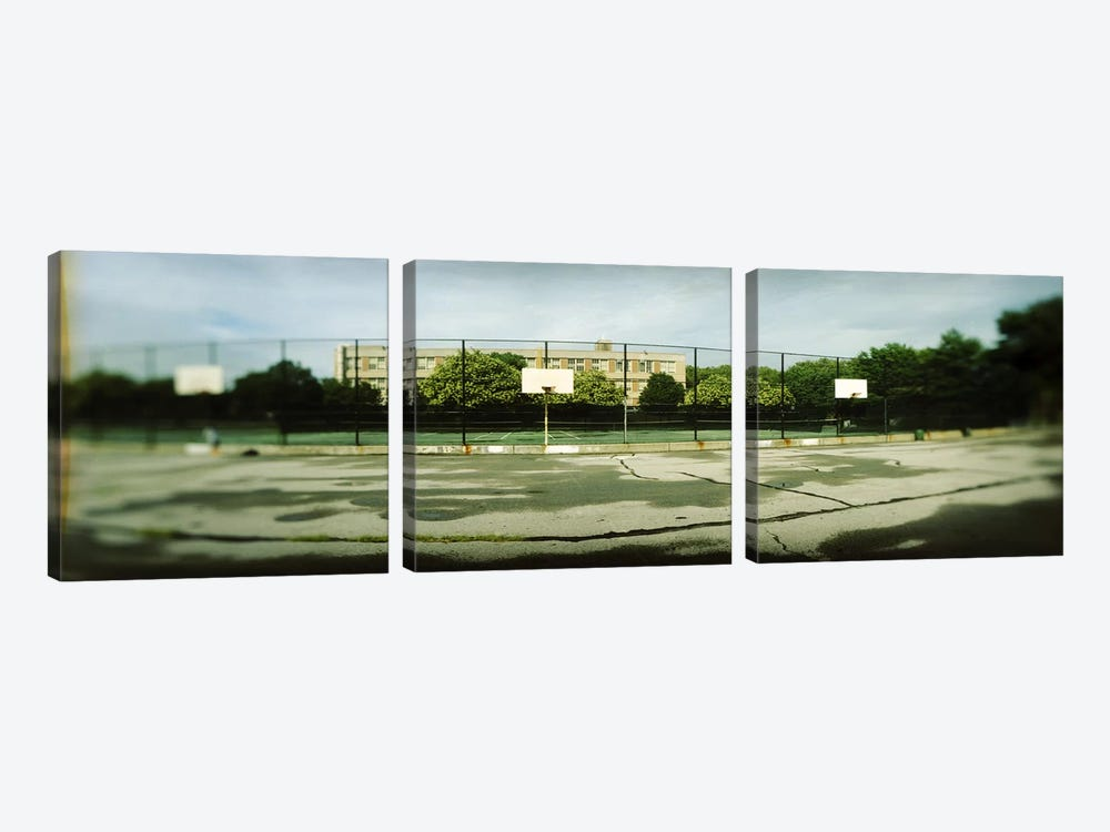 Basketball court in a public park, McCarran Park, Greenpoint, Brooklyn, New York City, New York State, USA 3-piece Canvas Wall Art