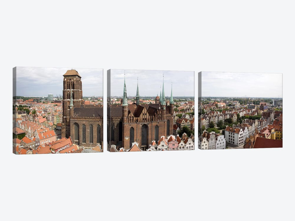 Cathedral in a citySt. Mary's Church, Gdansk, Pomeranian Voivodeship, Poland by Panoramic Images 3-piece Canvas Art Print