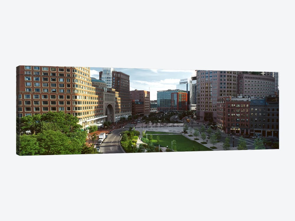 Buildings in a city, Atlantic Avenue, Wharf District, Boston, Suffolk County, Massachusetts, USA by Panoramic Images 1-piece Canvas Art Print