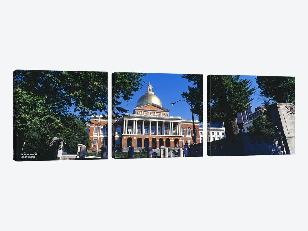 Facade of a government building, Massachusetts State Capitol, Boston, Suffolk County, Massachusetts, USA by Panoramic Images 3-piece Canvas Art