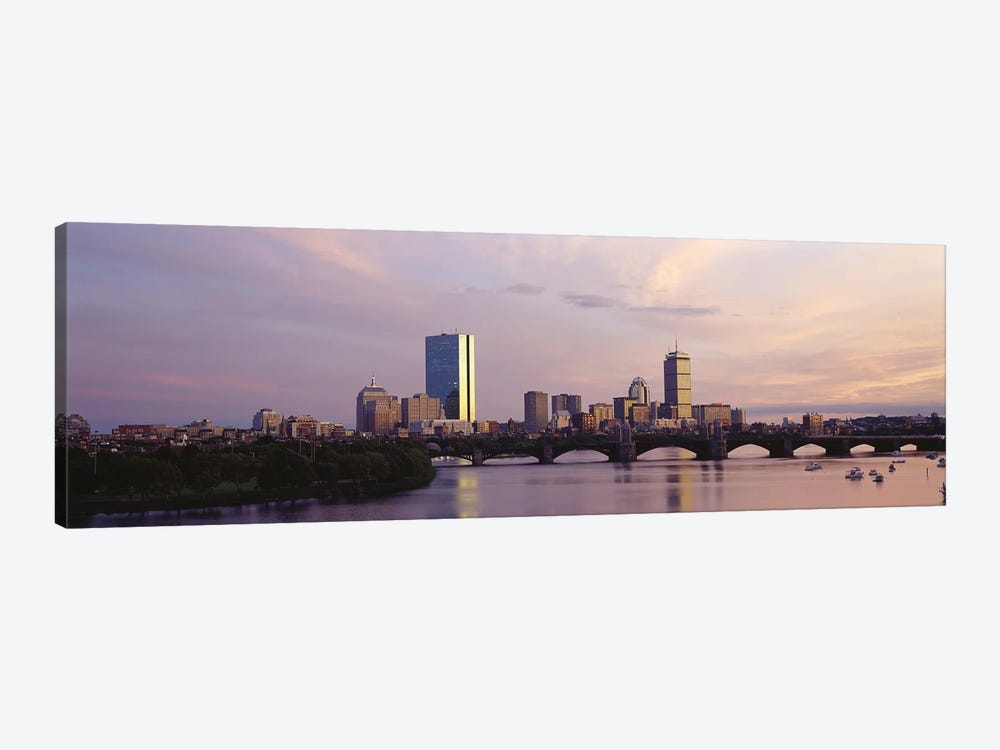 Back Bay Skyline With The Longfellow Bridge And Charles River In The Foreground, Boston, Suffolk County, Massachusetts, USA by Panoramic Images 1-piece Art Print