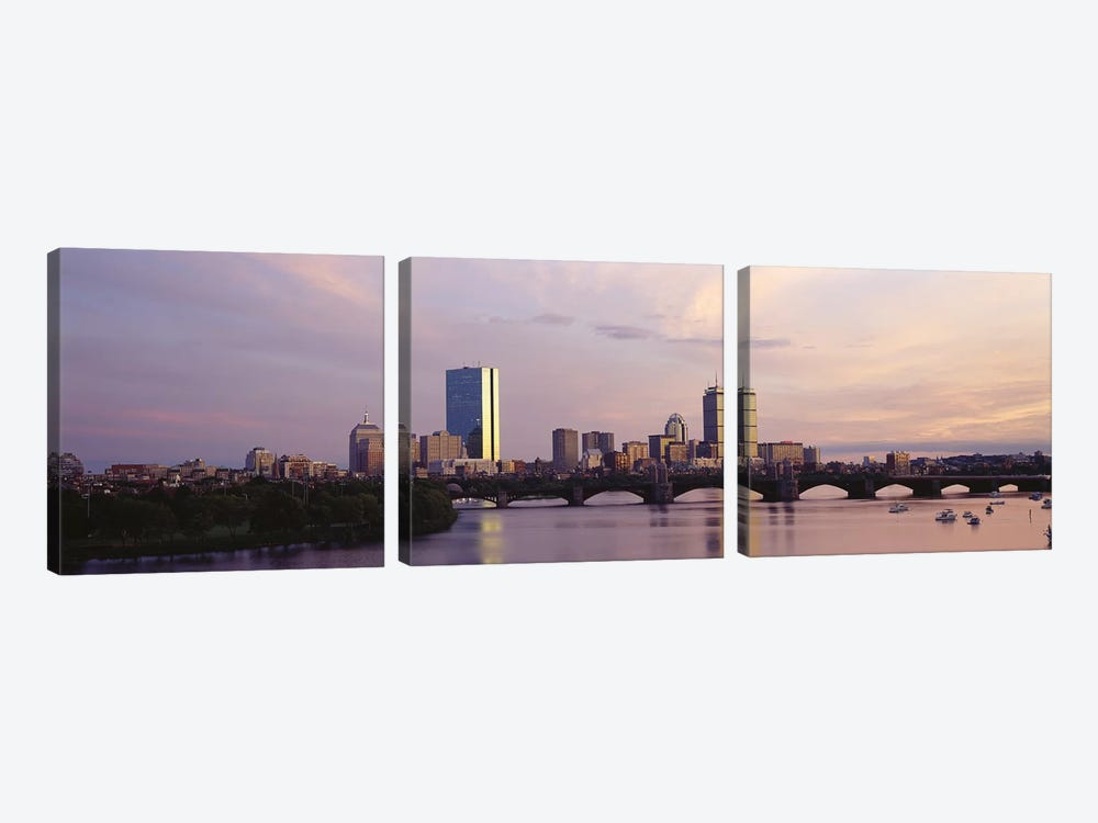 Back Bay Skyline With The Longfellow Bridge And Charles River In The Foreground, Boston, Suffolk County, Massachusetts, USA by Panoramic Images 3-piece Canvas Art Print