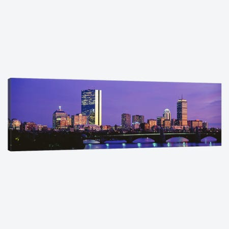 Lilac Sky Over An illuminated Back Bay Skyline, Boston, Suffolk County, Massachusetts, USA Canvas Print #PIM7970} by Panoramic Images Canvas Art Print