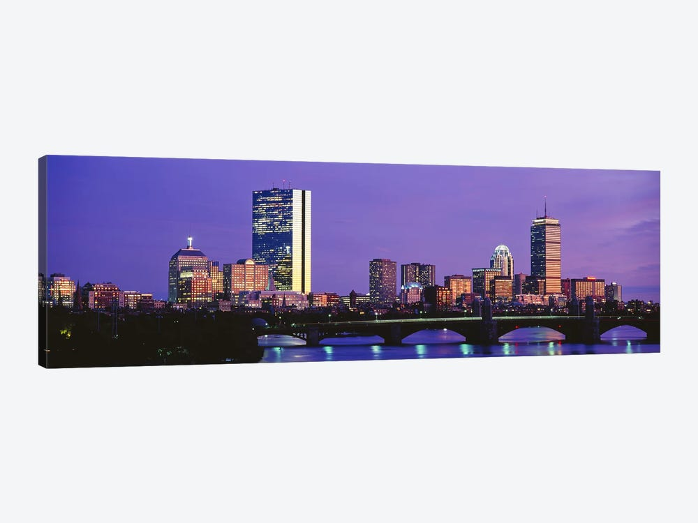 Lilac Sky Over An illuminated Back Bay Skyline, Boston, Suffolk County, Massachusetts, USA by Panoramic Images 1-piece Canvas Art Print