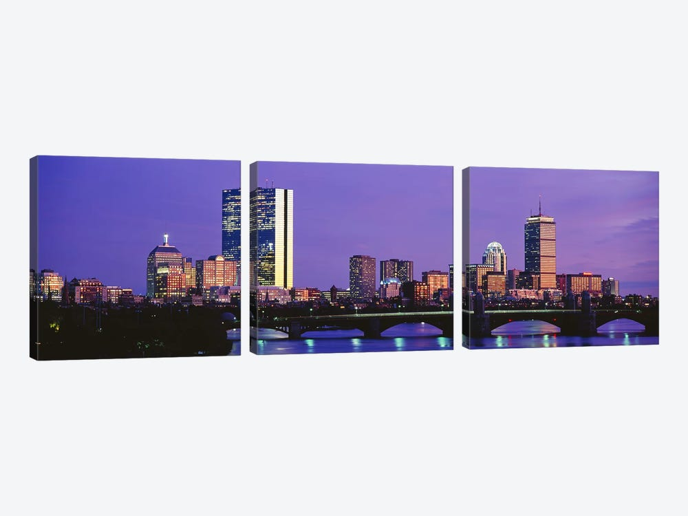 Lilac Sky Over An illuminated Back Bay Skyline, Boston, Suffolk County, Massachusetts, USA by Panoramic Images 3-piece Canvas Art Print
