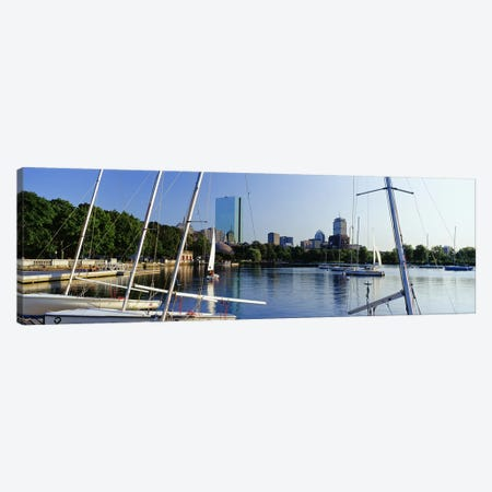 Sailboats in a river with city in the background, Charles River, Back Bay, Boston, Suffolk County, Massachusetts, USA Canvas Print #PIM7971} by Panoramic Images Art Print