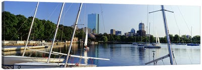 Sailboats in a river with city in the background, Charles River, Back Bay, Boston, Suffolk County, Massachusetts, USA Canvas Print #PIM7971
