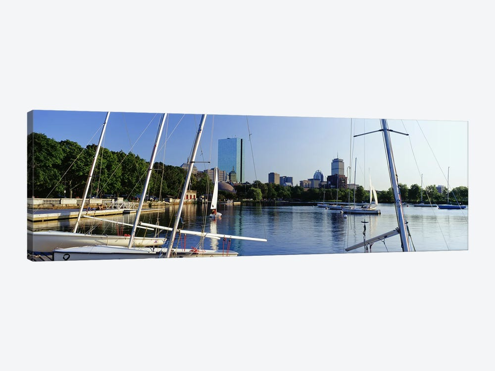 Sailboats in a river with city in the background, Charles River, Back Bay, Boston, Suffolk County, Massachusetts, USA by Panoramic Images 1-piece Canvas Wall Art