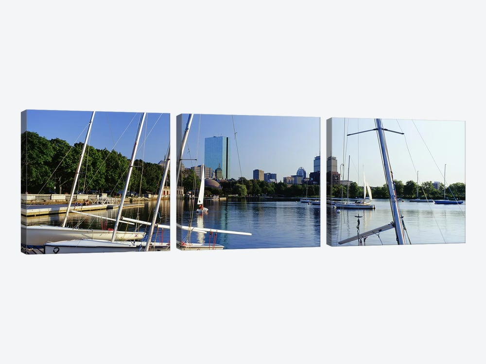 Sailboats in a river with city in the background, Charles River, Back Bay, Boston, Suffolk County, Massachusetts, USA by Panoramic Images 3-piece Canvas Art