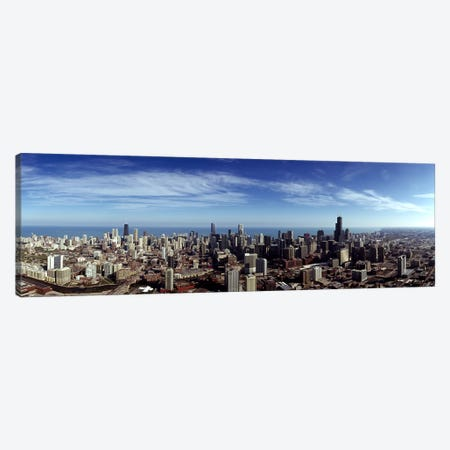Aerial view of a cityscape with Lake Michigan in the background, Chicago River, Chicago, Cook County, Illinois, USA Canvas Print #PIM7972} by Panoramic Images Canvas Print