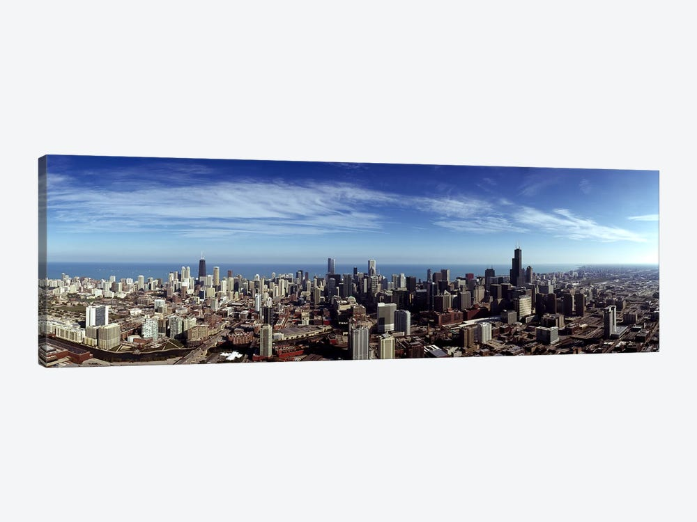 Aerial view of a cityscape with Lake Michigan in the background, Chicago River, Chicago, Cook County, Illinois, USA by Panoramic Images 1-piece Canvas Art Print