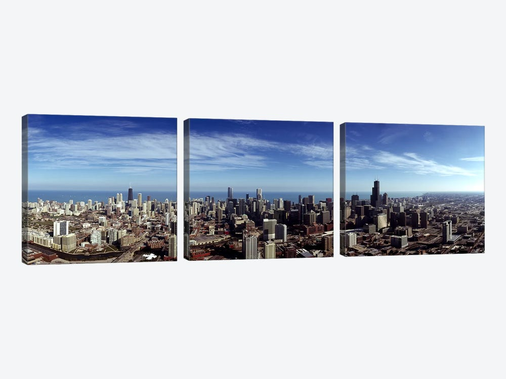 Aerial view of a cityscape with Lake Michigan in the background, Chicago River, Chicago, Cook County, Illinois, USA by Panoramic Images 3-piece Art Print