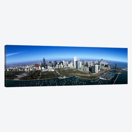 Aerial view of a park in a city, Millennium Park, Lake Michigan, Chicago, Cook County, Illinois, USA Canvas Print #PIM7973} by Panoramic Images Canvas Print
