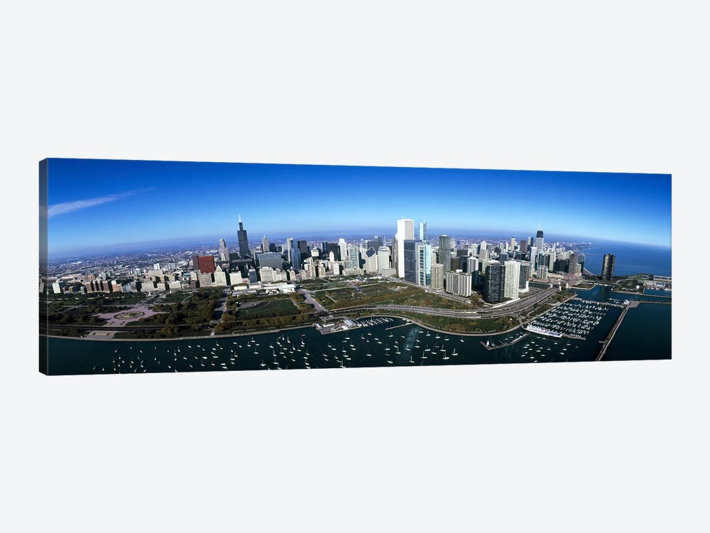 Aerial view of a park in a city, Millennium Park, Lake Michigan, Chicago, Cook County, Illinois, USA by Panoramic Images 1-piece Canvas Art