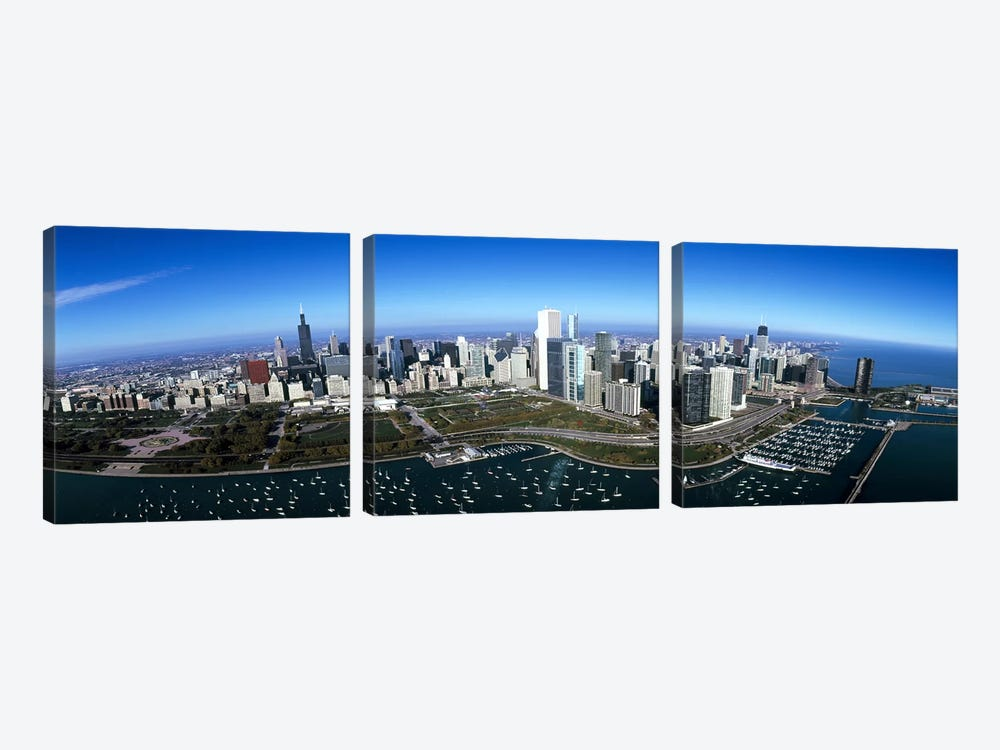 Aerial view of a park in a city, Millennium Park, Lake Michigan, Chicago, Cook County, Illinois, USA by Panoramic Images 3-piece Canvas Wall Art