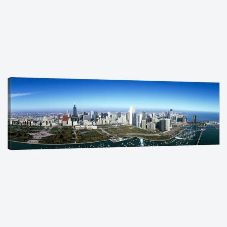 Aerial view of a park in a city, Millennium Park, Lake Michigan, Chicago, Cook County, Illinois, USA #2 Canvas Print #PIM7974} by Panoramic Images Canvas Wall Art